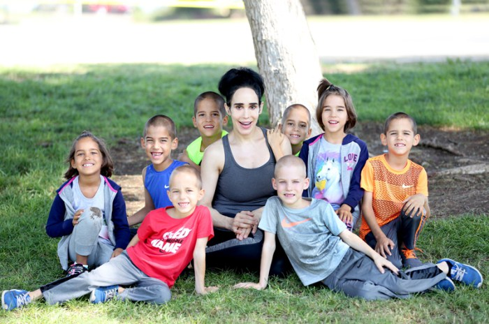 "EXCLUSIVE: **WORLD EXCLUSIVE** PHOTO CREDIT: MOVI Inc. Date: September 4th 2016 ""Octomom"" Natalie Suleman poses with her thriving Octuplets, now 7-years-old, in Laguna,California as the mother of 14 admits to a former Xanax addiction and killing off her former 'Octomom' character in a desperate bid to save her life. Natalie, who has recently switched back to her birth name, and her Octuplets, Jonah, Nariyah, Josiah, Maliyah, Isaiah, Noah, Jeremiah and Makai look happy and healthy as they hang out in a park near their Laguna,CA home and makes some fruit smoothies in their kitchen and eat sandwiches for lunch. 2ND RIGHTS USA, AUSTRALIA, UK........NO ARGENTINA, AUSTRIA, BELGIUM, BRAZIL, DENMARK, FRANCE, GERMANY, GUATEMALA, HAITI, ITALY, MEXICO, NETHERLANDS, NORWAY, PERU, SOUTH AFRICA, SWEDEN, SWITZERLAND Pictured: Natalie Suleman Ref: SPL1362819 260916 EXCLUSIVE Picture by: MOVI Inc. / Splash News Splash News and Pictures Los Angeles:310-821-2666 New York:212-619-2666 London:870-934-2666 photodesk@splashnews.com"