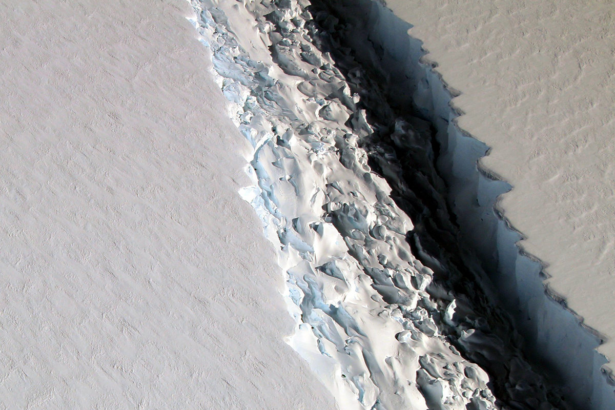 Mandatory Credit: Photo by NASA/REX/Shutterstock (8791697p) Antarctica - The shape of the world is hanging by a thread or rather, according to experts, by a 110 mile-long (177km) rift. That's the extent of a rapidly expanding crack in an enormous ice shelf in Antarctica. When the Larsen C shelf finally splits, the largest iceberg ever recorded (bigger than the US state of Rhode Island and a third the size of Wales) will snap off into the ocean. Widening each day by 3 ft (1 m), the groaning cleft is on the verge of dramatically redrawing the southern-most cartography of our planet and is likely to lead, climatologists predict, to an acceleration in the rise of sea levels globally. Larsen C Ice Shelf, Antarctica